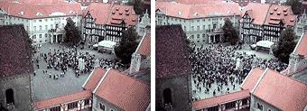 Stoiber und ein mäßig gefüllter Braunschweiger Burgplatz